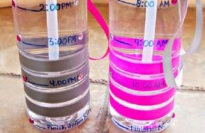 bouteils d'eau avec graduation horaires